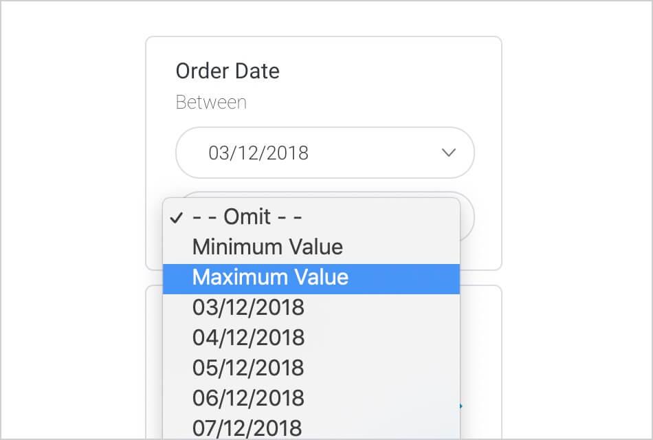 Toggle Minimum Maximum Values in Filters